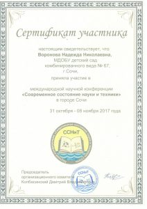 Сертификат Воронова Н.Н. 31.10.-08.11.
