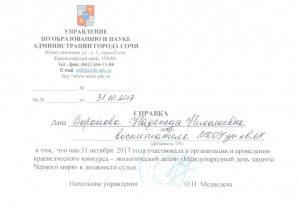 Справка Судейство Воронова Н.Н. Черное море